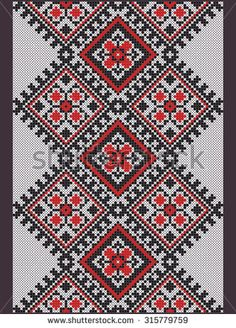 Stock Images similar to ID 136770539 - vector illustration of. Ribbon Embroidery, Cross Stitch Embroidery, Embroidery Patterns, Cross Stitch Charts, Cross Stitch Patterns, Cross Stitch Geometric, Palestinian Embroidery, Creative Embroidery, Fair Isle Pattern