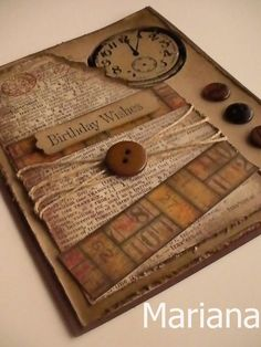 clock with stampin up kraft and chocolate card stock