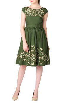 Graphic Floral Vine Embellished Poplin Dresses, Cotton Poplin Loden Green Dresses Shop women's designer dresses - Strapless Dresses - Buy Strapless Dresses   eShakti