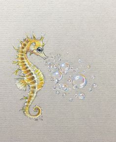 Cute Seahorse Tattoo Designs With Bubble