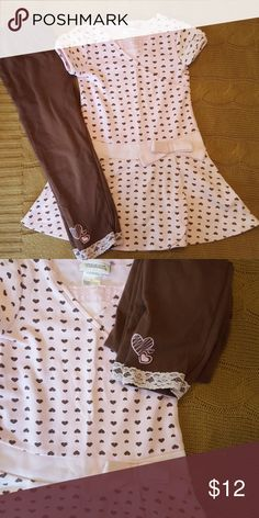 🛑Price DROP🛑Hearts lace trim dress and leggings Pastel pink with chocolate hearts dress, chocolate leggings with pink lace trip and heart embroidery. Adorable! Bundle to save. Youngland Dresses