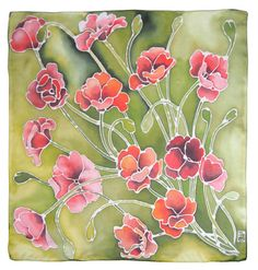 20% off silk scarf Poppies with imperfection hand by MinkuLUL