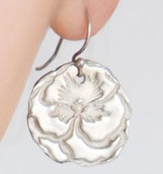 pmc {precious metal clay} silver earrings on sterling silver french hooks