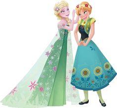 Anna & Elsa from Disney's Frozen Fever