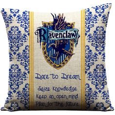 Harry Potter, Ravenclaw, Hogwarts, J.K. Rowling, Movies, throw... (33 CAD) ❤ liked on Polyvore featuring home, home decor, throw pillows, movie home decor, christmas throw pillows, christmas home decor and linen throw pillows