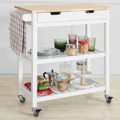 FKW78-W SoBuy Carrello di servizio bianco Carrello cucina,Scaffale da cucina,in legno