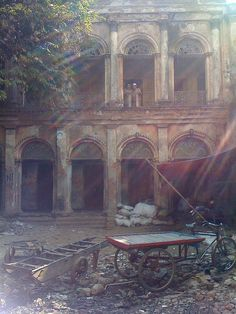 Old~world exterior ~ Old colonial house in Puran Dhaka ~ <3 the bicycle cart!