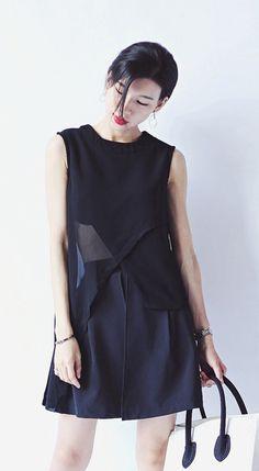 Fashiontroy   Minimalism sleeveless crew neck black white irregular-hem see-through chiffon top + high rise shorts set