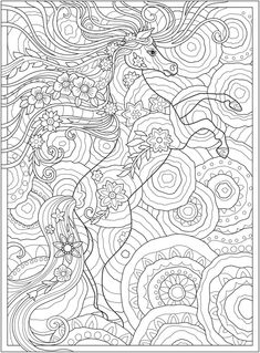 Welcome to Dover Publications- CH Dream Horses Horse Coloring Pages, Fairy Coloring, Printable Adult Coloring Pages, Mandala Coloring, Coloring Books, Colouring, Colorful Drawings, Cute Drawings, Diy Y Manualidades