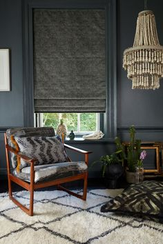 AbigailAhernxHillarys mortan tar roman blind with harkness gasoline cushion both with kohl fringe and cadillac noir cushion with soleil fringe