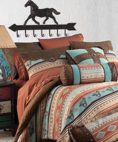Find southwestern bedding, southwest comforters and western home decor. We have a gorgeous selection of southwestern bedding & decor. Cowgirl Bedroom, Western Bedroom Decor, Lodge Bedroom, Western Bedrooms, Western Decor, Western Bedding Sets, Rustic Bedding, Horse Themed Bedrooms, Bedroom Themes