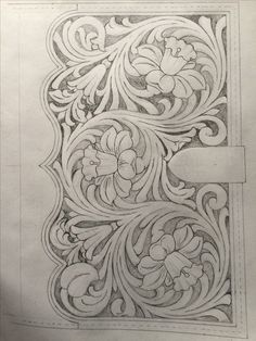 Leather tooling pattern for journal, book cover or clutch Leather Carving, Leather Art, Leather Design, Leather Tooling, Custom Leather, Handmade Leather, Leather Jewelry, Tooled Leather, Wood Carving Patterns