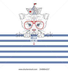 illustration of sailor kitten on stripy background