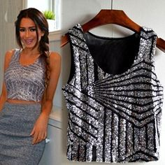Fashion New Sexy Lady Womens Sleeveless Sequins Splicing Short Tank Tops