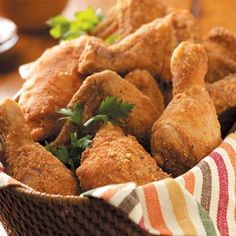 Potluck Fried Chicken Recipe from Taste of Home -- shared by Donna Kuhaupt of Slinger, Wisconsin