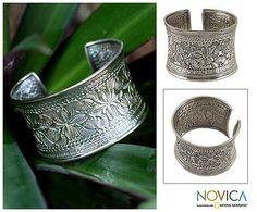 Floral Sterling Silver Cuff Bracelet - Moon Flower | NOVICA