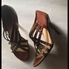 "Stuart Weitzman Strappy Studded Heels.  Strappy yet simple, this dressy wearable sandal solves all of your ""what-should-I-wear-with-this-dress"". Very comfortable. ALL leather. No stains. Very mild wear on leather sole. OBO Stuart Weitzman Shoes Heels"