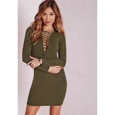 f15d38d7c070 Missguided Lace Up Long Sleeve Bodycon Dress ($34) ❤ liked on Polyvore  featuring dresses