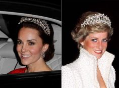 Kate and Diana in the Cambridge Lovers Knot tiara. (Photo: Getty Images)