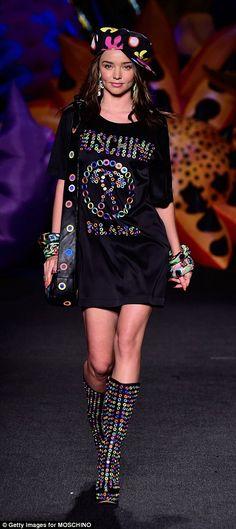 Boyfriend's ex: Orlando's ex-wife Miranda Kerr walked the runway at the Moschino show...