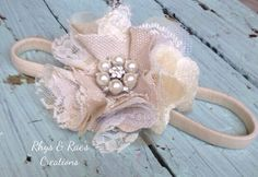 Ivory, Cream, Champagne, Beige, Fabric Flower Headband, Bridal Hair Flower, Linen Lace Rustic Wedding Hair Accessory, Flower Girl Headband by RhysandRaesCreations on Etsy https://www.etsy.com/listing/209093660/ivory-cream-champagne-beige-fabric