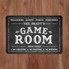 4 Wooden Shoes Personalized Chalkboard-Look Game Room Metal Sign Wall Décor Garage Game Rooms, Game Room Basement, Basement Ideas, Gameroom Ideas, Mancave Ideas, Garage Bar, Basement Makeover, Playroom Ideas, Starburst Wall Decor