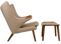 Replica Hans Wegner Papa Bear Chair and Ottoman - Wheat