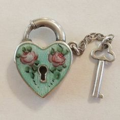Sterling Silver Puffy Heart Padlock Charm and Key