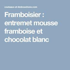 Framboisier : entremet mousse framboise et chocolat blanc