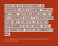 Dangerous Times: How to tell Conservatives from Fascists