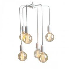 Nie jedna, a sześć żarówek, to solidne i efektowne źródło światła. Designerskie lampy