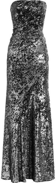 Donna Karan New York Silver Sequined Dress