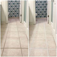 How to Make Grout White Again Regrouting Tile, Floor Tile Grout, Clean Tile Grout, Tile Grout Cleaning, How To Clean Grout, Clean Tile Floors, Clean Bathroom Grout, Cleaning Ceramic Tiles, Vinyl Flooring Bathroom