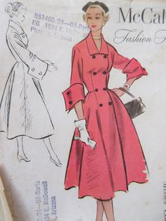Vintage McCall's 9490 Sewing Pattern, 1950s Coat Pattern, Double Breasted Coat, Bust 32, Fashion Firsts, French Cuffs, 1950s Sewing Pattern