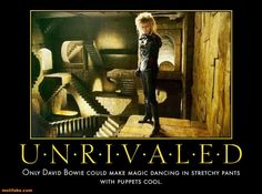 David Bowie as Jareth the Goblin King in Labyrinth. The power of voodoo. Remind me of the babe. David Bowie Labyrinth, Labyrinth Film, Jim Henson Labyrinth, Goblin King, We All Mad Here, Labrynth, Fraggle Rock, Demotivational Posters, The Dark Crystal