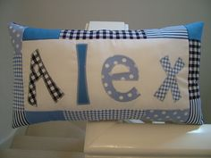 Personalised Boy's Cushion with Patchwork Border by CraftyBearUK, £18.95