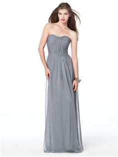 sweetheart strapless, pretty bodice, full length chiffon