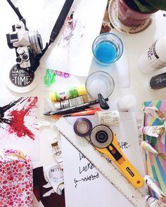 Tools of the trade. #Abmcrafty #creativelifehappylife #makersgonnamake #doitfortheprocess #cultivatecreativity #diy #carveouttimeforart #acolorstory #flashesofdelight #abmlifeiscolorful #livecolorfully #onmydesk
