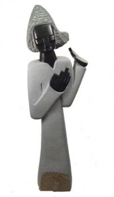 """SHONA TRIBE AFRICAN STONE SCULPTURE """"HUMBLE WOMAN"""""""