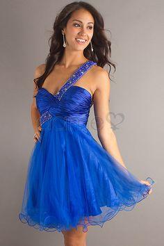 Falte Mieder Perlen eine Schulter Rüschen Herz-Ausschnitt kurzes schickes & modernes Homecoming Kleid