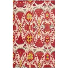 Handmade Ikat Ivory/ Red Wool Rug (6' x 9') | Overstock.com Shopping - Great Deals on Safavieh 5x8 - 6x9 Rugs