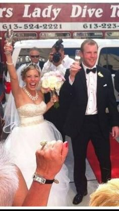 Bryan and his new wife Amanda look pretty excited after tying the knot!