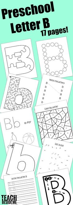 Preschool Letter B Activities- 17 pages of Letter B Printables, Letter B snack, Preschool Letter B Book list, Letter B Craft, and more!  via @karyntripp