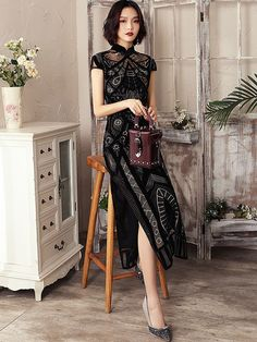Black Embroidered Geometric Long Qipao / Cheongsam Dress