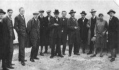 The Bauhaus masters on the roof of the new Bauhaus building, 1926.  From left: Josef Albers, Hinnerk Scheper, Georg Muche, László Moholy-Nagy, Herbert Bayer, Joost Schmidt, Walter Gropius, Marcel Breuer, Wassily Kandinsky, Paul Klee, Lyonel Feininger, Gunta Stölzl, Oskar Schlemmer.