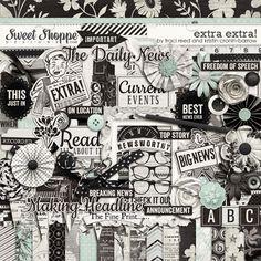 Digital Scrapbook Kit: Extra Extra by Traci Reed and Kristin Cronin-Barrow