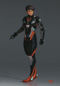 ArtStation - Character Concept no 2 (Sci Fi), Nick Tagney armorconcept Superhero Suits, Superhero Characters, Superhero Design, Sci Fi Characters, Red Superhero, Superhero Party, Character Design Sketches, Fantasy Character Design, Character Design Inspiration