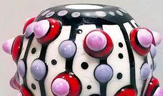 Pop Dot Stripey Big Ball Handmade Lampwork Bead by BeadygirlBeads