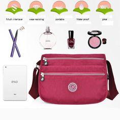 Women Nylon Travel Outdoor Casual Crossbody Bag Multi-zipper Compartment Messenger Bag