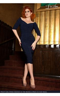 Laura Byrnes California- Monica Dress in Navy Blue | Pinup Girl Clothing